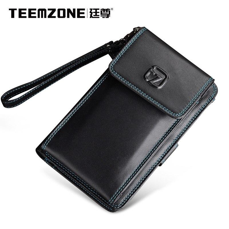 2017 Men Wallets Teemzone Brand Mens Wallet Leather Genuine Men's Clutch Bags Fashion Purse Multifunction Phone Bag Man Wallet