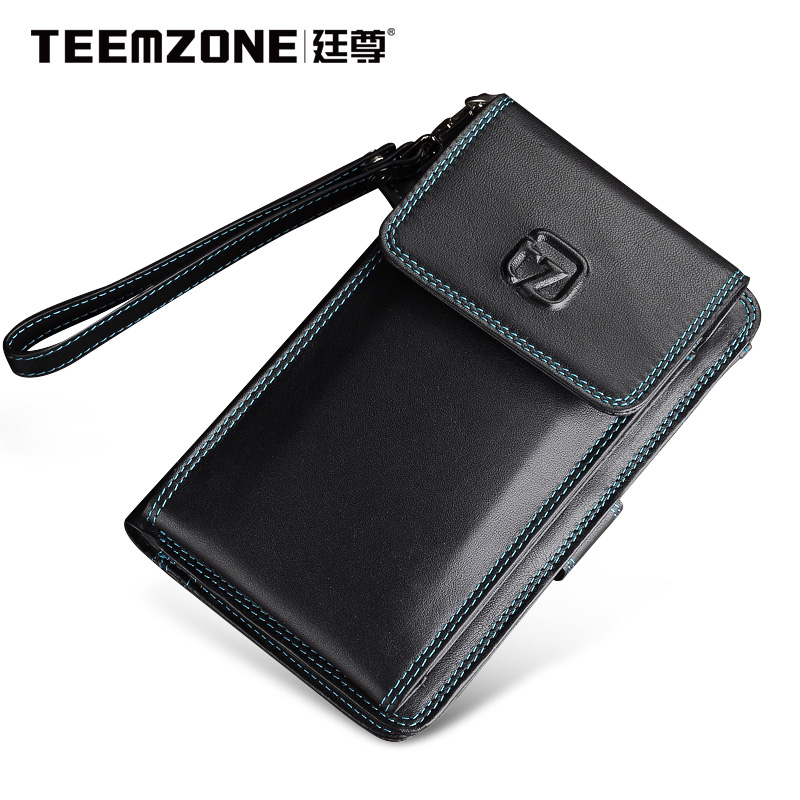 2018 Men Wallets Teemzone Brand Mens Wallet Leather Genuine Men's Clutch Bags Fashion Purse Multifunction Phone Bag Man Wallet hansband luxury brand men clutch wallet genuine leather hand bag classic multifunction mens high capacity clutch bags purses