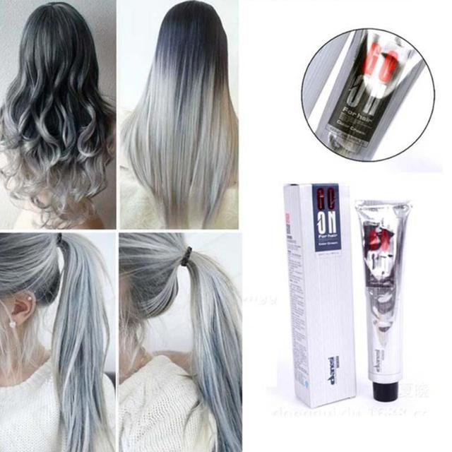 Fashion Uni Smoky Gray Punk Style Light Grey Silver Permanent Hair Dye Color Cream