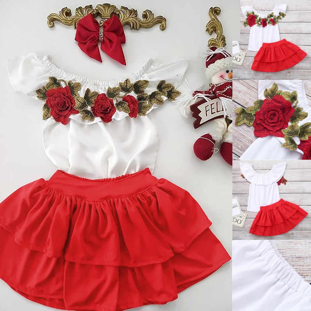 2020 nova criança do bebê crianças menina fora do ombro bordado rosa flores topos + saias roupas da criança menina cair ropa