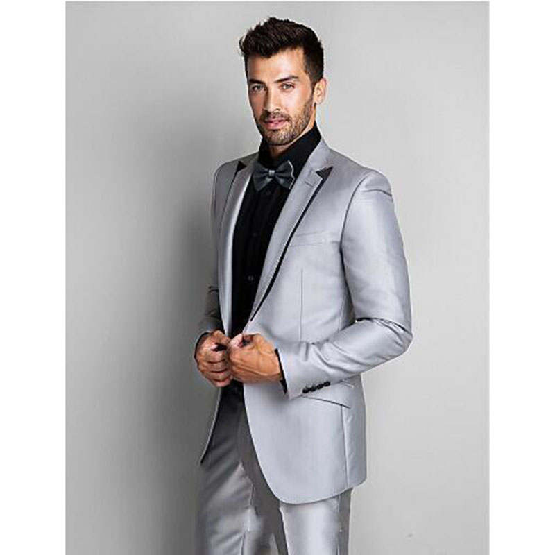 2017 Tailored Shinny Silver Mens Cool suits Groom Men Wedding Tuxedos Party suit Fashion Wear ...