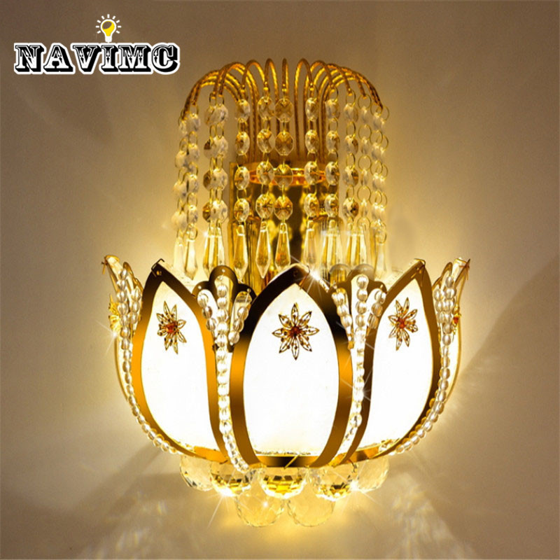 Gold Crystal led Wall Sconces Lamps for Bedroom Living Room Bedside Bathroom Closet Night Light Modern Luxury Wall Light new arrival 7 inch tablet pc aoson m751 8gb 1gb 1024 600 android 5 1 quad core dual cameras bluetooth multi languages pc tablets