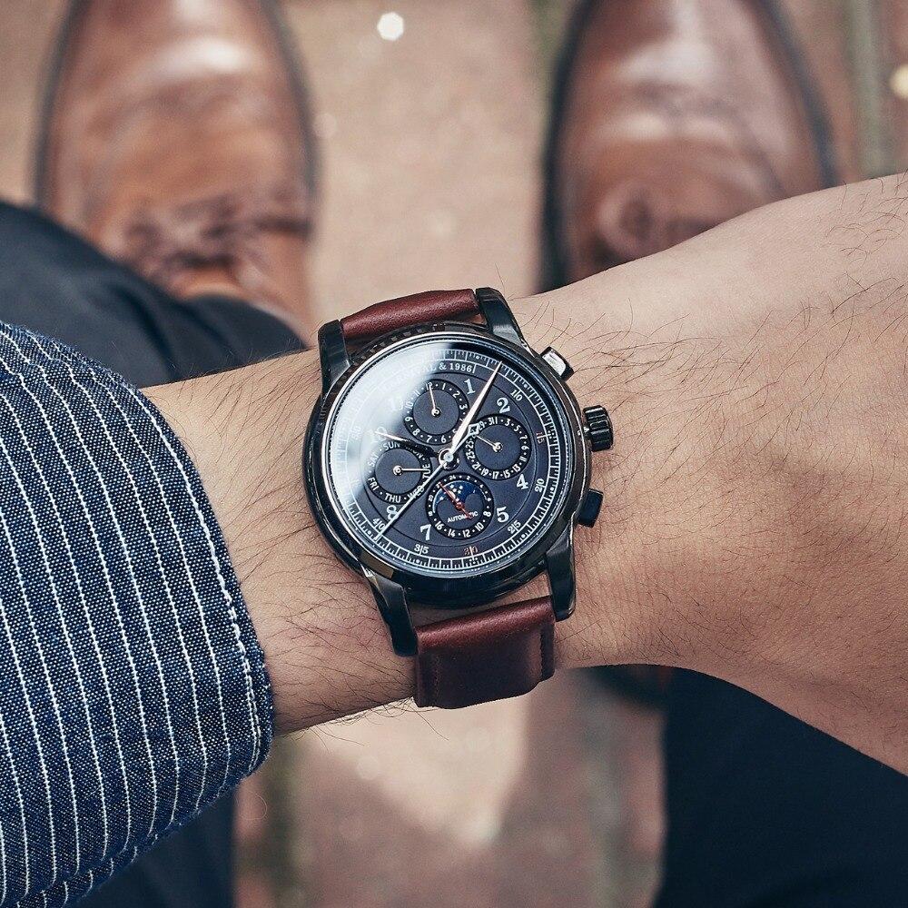 7139d276 Карнавал Элитный бренд механические часы для Для мужчин наручные часы  Автоматическая кожа механические наручные часы Водонепроницаемый Д..