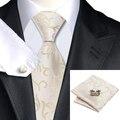 Мужчины Галстуки Слоновой Кости Желтый Шелковый Галстук Ханки Запонки Набор Мода Мужская Бизнес Свадьба Галстуки Для Мужчин C-1117