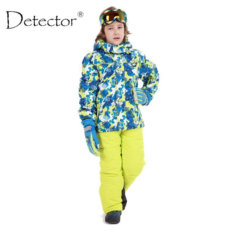 Детектор лыжный комплект для мальчиков детские лыжные костюмы для мальчиков и девочек уличная Водонепроницаемый ветрозащитный зима тепла...