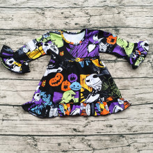 High quality cotton beautiful children top wholesale girls Halloween dress pearl tunic baby girl dresses