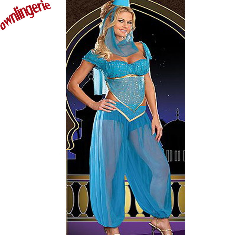 2017 Hot Sales Bule Color Belly Dance Princess Fancy Dress, Burlesque Genie Costume And Arabic For Dancing Costume W1093