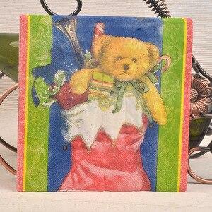 Image 4 - 20 בציר מפית נייר מודפס סנטה קלאוס איש שלג צביים מגזרת נייר servilletas חתונה חמוד ילדים מסיבת יום הולדת דקור