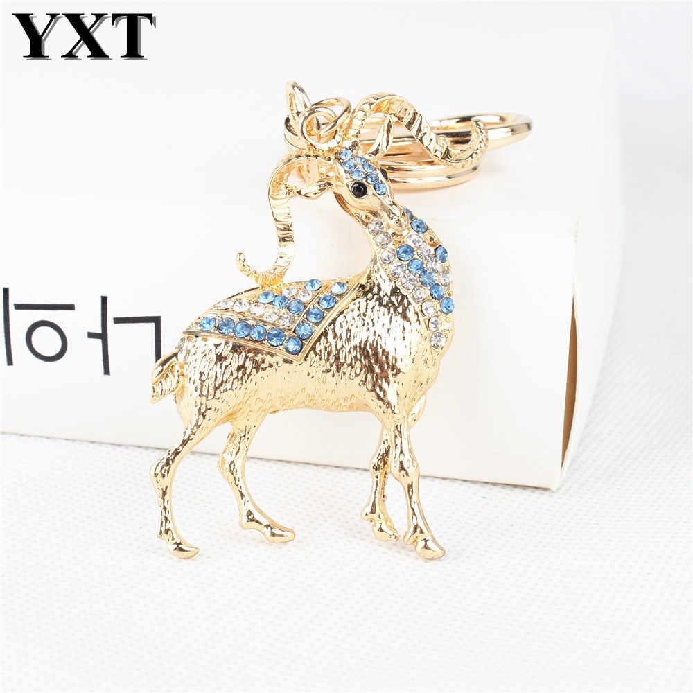 จีนราศี Goat แกะน่ารักคริสตัลพลอยเทียมเสน่ห์กระเป๋าจี้กระเป๋ารถพวงกุญแจโซ่สร้างสรรค์งานแต่งงานของขวัญโชคดี
