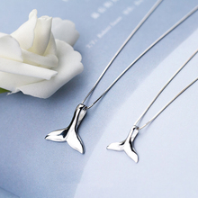 MloveAcc 925 Sterling Silver Ocean Sea Fish Whale's Tail Mermaid Pendant Necklaces for Women Silver Jewelry Girl Gift