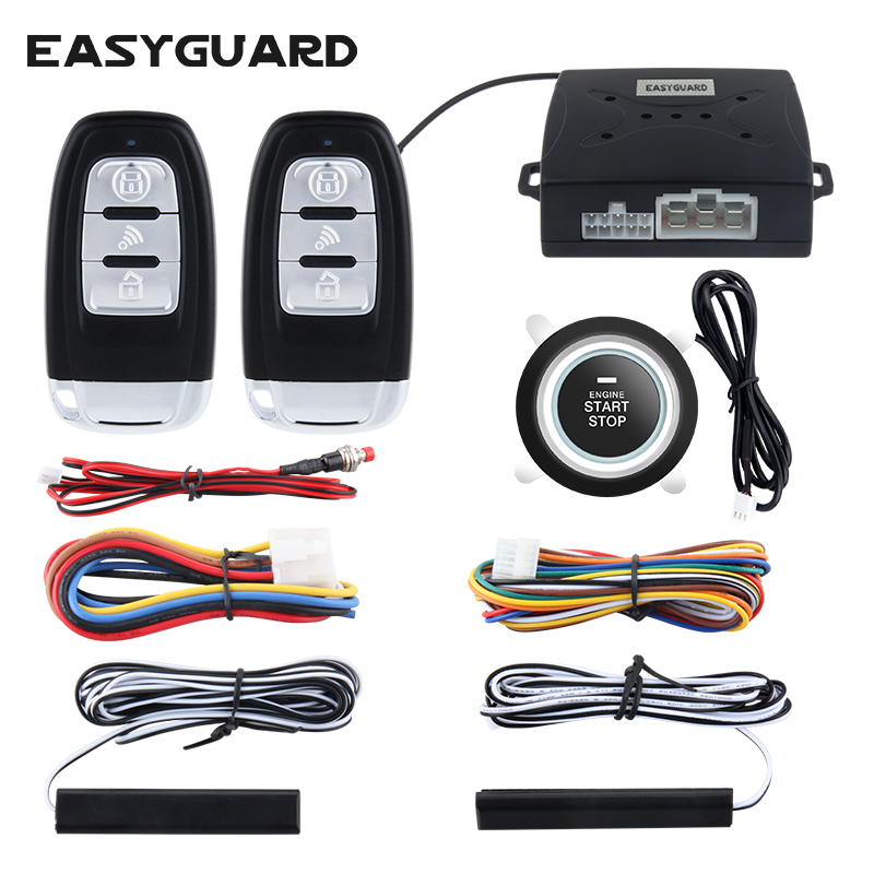 Quality EASYGUARD universal pke car alarm system passive keyless entry and push button start/stop remote engine start dc12V universal pke car keyless entry alarm system with remote engine start push start stop button trunk release