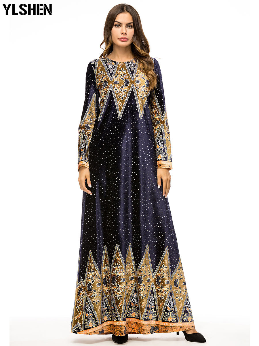 Plus Size Maxi Muslim Dress Abaya Dubai Women Ramadan Moslim Kaftan Prayer Robe Hijab Dresses Islamic Turkey Islamic Clothing