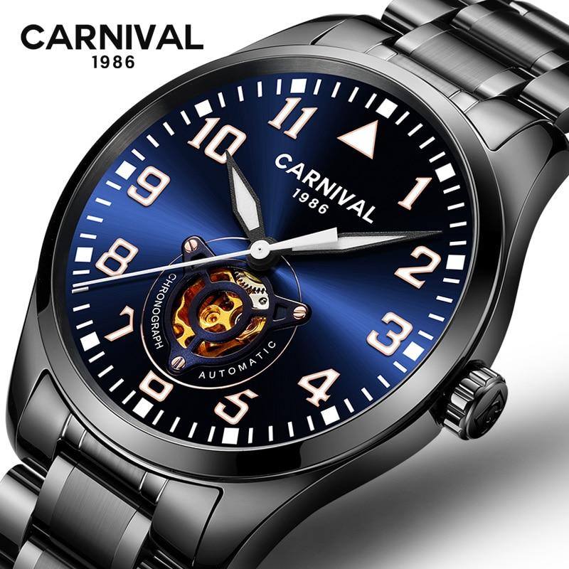 Carnaval relógio mecânico dos homens de luxo da marca Oco out erkek kol saati relógio de homens de aço cheio relógios à prova d' água relogio masculino