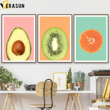 Kiwi Fruit Orange Avocado Nordic Posters And Prints Wall Art Canvas Painting Poster Pictures For Living Room Decor