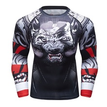 UFC BJJ MMA Compression Rashguard T shirt Men Exercise Evil wolf 3D Print Work Out Fitness Tights Bodybuild Cross fit Rash Guard(China)