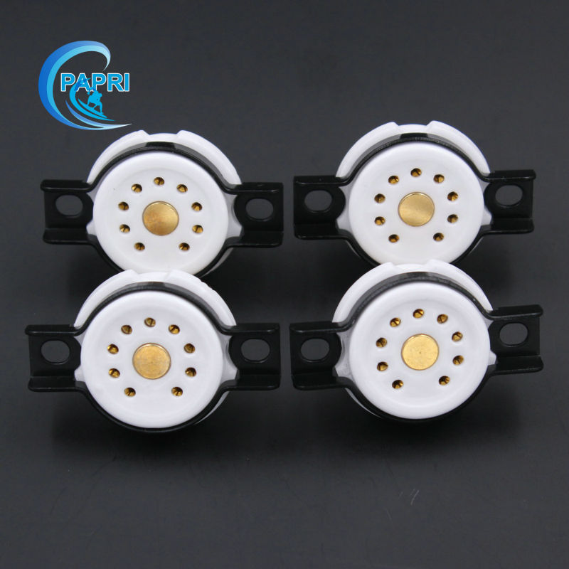 PAPRI 4PCS EIZZ Chassis Mount 9pin Tube Socket Ceramic Base Golden Plated Copper Feet For 12AT7