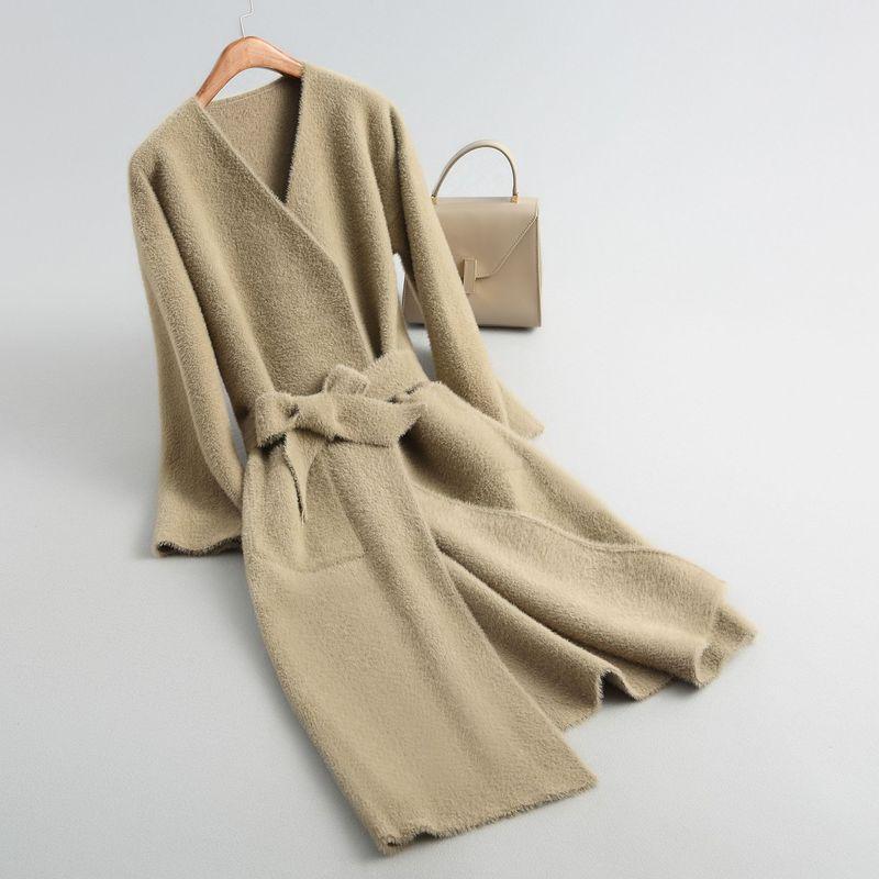 Avec Fashion Manteau Velours Oversize Sexy V Lammy Laine Femmes Mélanges Outwear Hiver High Doux kaki Femelle Ceinture noir jaune Longue Occasionnel Beige Street Cou CsQdxthr