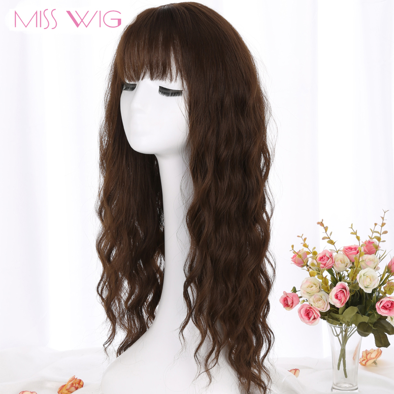 MERISI HAIR 26 SLong Grey Brown Womens Wigs with Bangs Heat Resistant Synthetic Wavy Wigs for Black Women African American