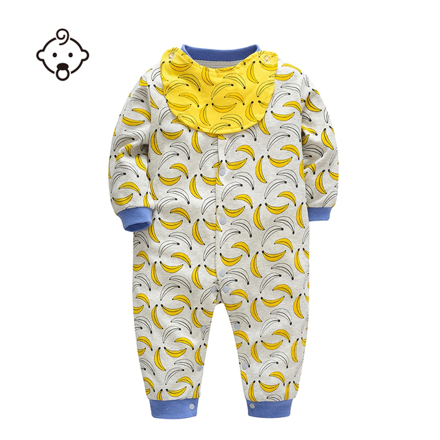 19f2fdc7e643 Autumn Baby Rompers Long Sleeve Infant Newborn Baby Jumpsuit Clothing Baby  Girls Boys Banana Printed Soft Cotton Romper Clothing