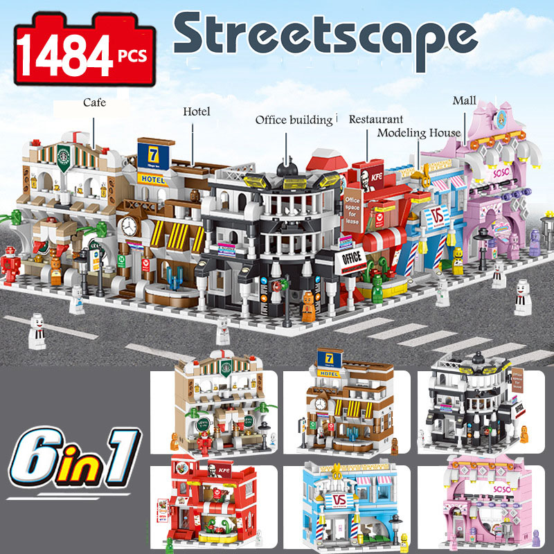 PIP GAMES Streetscope Legoed City Mini Shopping Streets Creative Building Blocks Toys for Kids City Model Crafts Toys PGM028