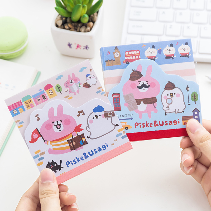 1 PCS DIY Small Animal Rabbit Kawaii Colored Memo Pad Sticky Paper Post It Note School Office Supplies Korean Stationery