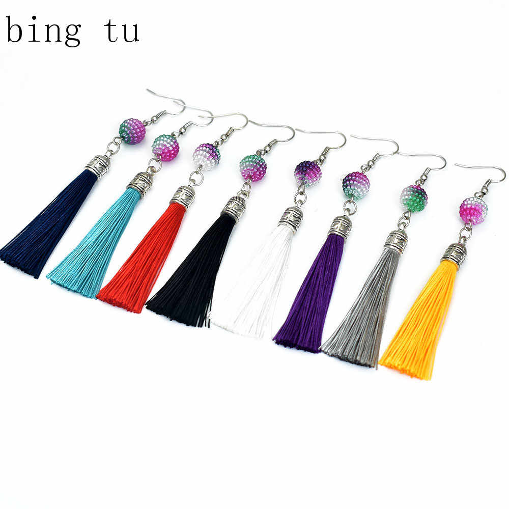 Bing Tu Fringe Earring Geometric Round Beads Long Tassel Earrings For Women Bohemian Ethnic Jewellery Hanging Earings