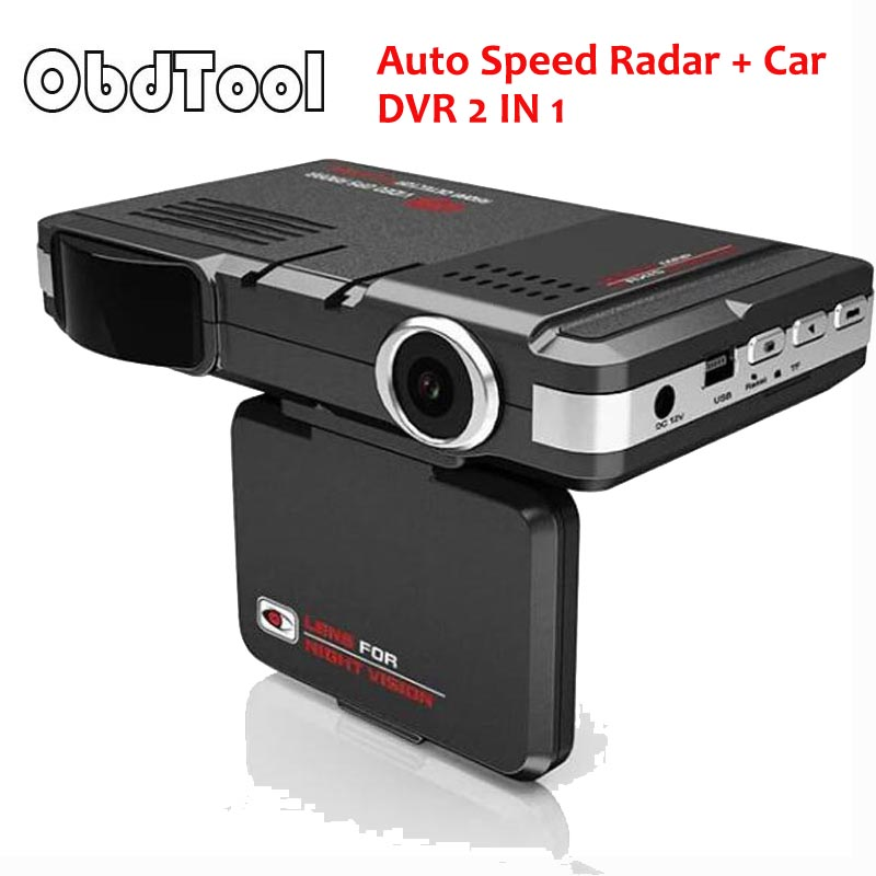 Black 720P 2 In 1 V10 Auto Speed Radar + 170 Degree Car DVR Russian English