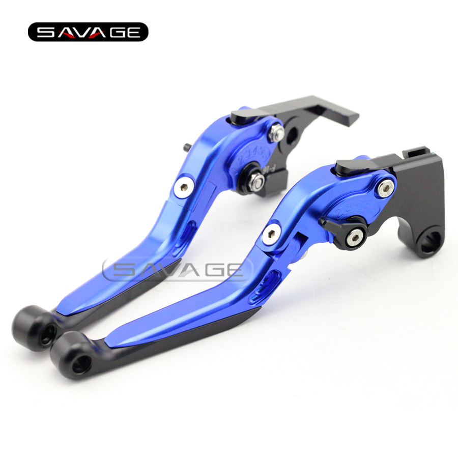 For YAMAHA FZ8 /Fazer FZ-07 MT-07 MT07 Blue Motorcycle Adjustable Folding Extendable Brake Clutch Lever cnc billet adjustable long folding brake clutch levers for yamaha fz6 fazer 04 10 fz8 2011 14 2012 2013 mt 07 mt 09 sr fz9 2014