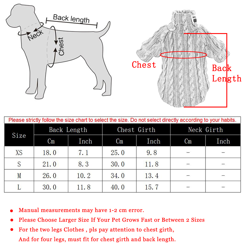 Woolen Dog Jacket in Turtleneck Design for Small Dogs as Winter Clothing 5