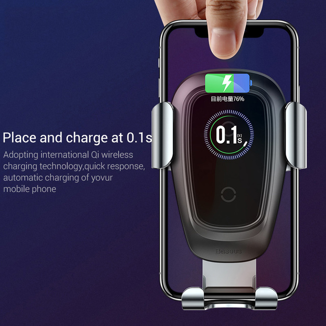 Baseus Qi Wireless Charger Car Phone Holder for iPhone 11Pro Samsung Mobile Phone Holder Stand Air Vent Mount Gravity Car Holder 2