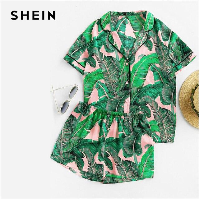 SHEIN Multicolor Tropical Palm Leaf Print Shirt and Shorts PJ Set Casual Button Short Sleeve Women Summer Nightwear Pajama Sets