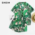 SHEIN Multicolor Tropical Palm Leaf Print Shirt and Shorts PJ <font><b>Set</b></font> Casual Button Short Sleeve Women Summer Nightwear <font><b>Pajama</b></font> <font><b>Sets</b></font>