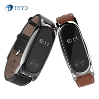 Teyo NEW Leather Strap Smart Band Replace Accessories For Xiaomi Mi Band 2 Wrist Straps Screwless