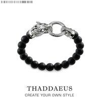 Pulseira Thomas Rebel Dragão Estilo Punk Moda Jóias Presente Para Homens & Mulheres  em 925 Prata E Preto Obsidian|bracelet fashion|fashion bracelet|gifts for men -