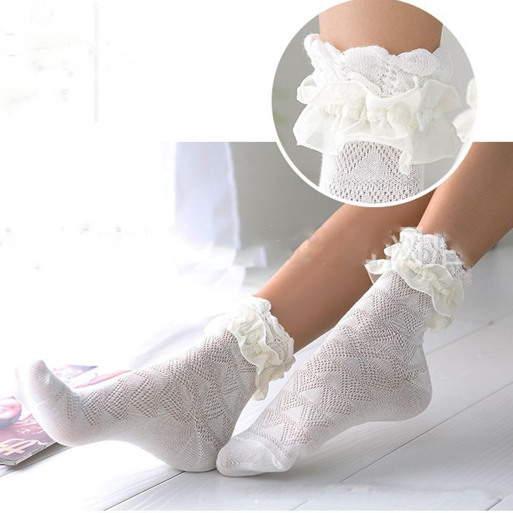 1pair Korean Style Harajuku Ladies Girls Vintage Female Hollow Luxury Solid Cotton Lace Warm Frilly   Sock   Ruffle Ankle   Socks