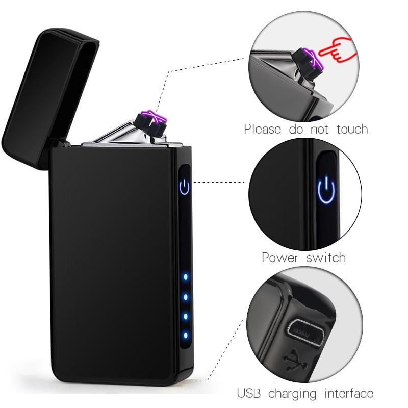 USB Lighter Electronic Turbo Lighter Rechargeable Double Arc Plasma Lighter Cigarette Lighter For Smoking