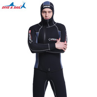 Мужской гидрокостюм 5 мм с капюшоном Гидрокостюм SCR толстый теплый купальник плавки костюм