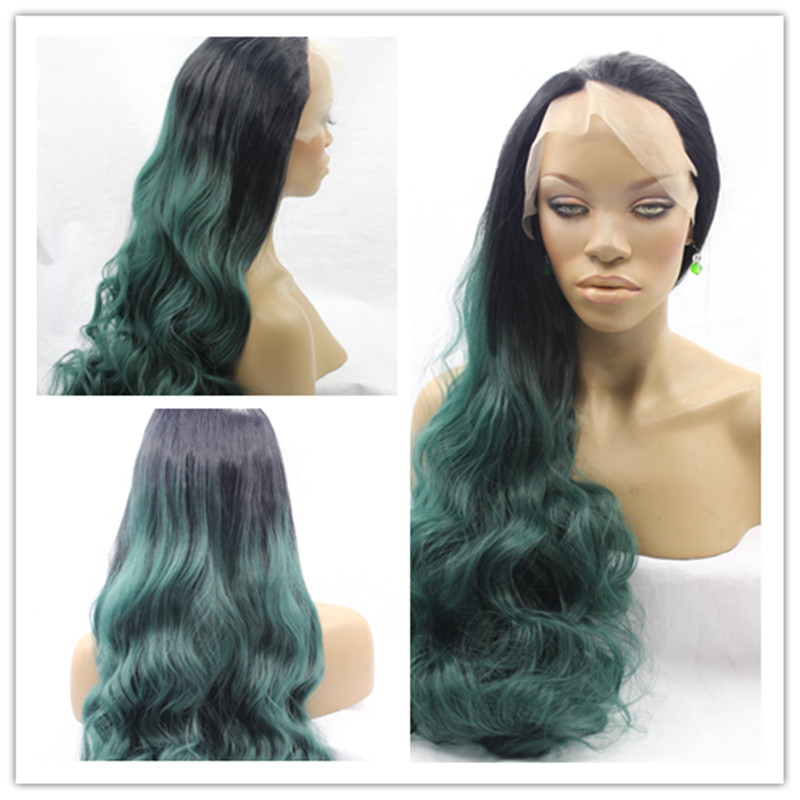 Free Shipping Hot Sale Heat Resistant Wigs Ombre Body Wave Black to Dark Green Synthetic Lace Front Wigs for Black Women