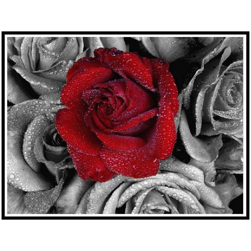 Diy diament malarskie kwiaty czerwona róża handwork pełna mozaika obraz wzór graficzny decor plac diament haft f191