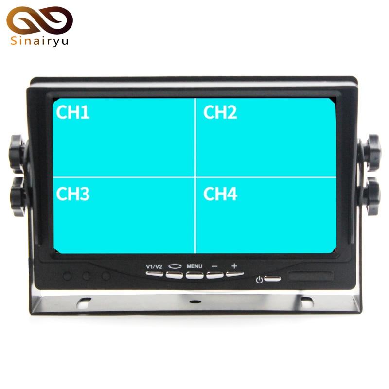 7 Split Quad Monitor Car Headrest Display 4CH Video Input For Back Up Camera Truck RV & CCTV Surveillance Security System
