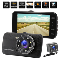 4.0 Inch Dual Lens Car DVR Full HD IPS Screen Camcorder Cam Dash Camera 1080P Video 170 Degree Camera Drive Recorder