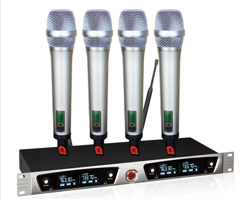 UHF SKM5200 SKM 5200 style 4 handheld transmitter+1 receiver karaoke vocal wireless microphone system free shipping ew100 ew135 g3 style uhf band frequency adjustable dual handheld vocal karaoke wireless microphone system