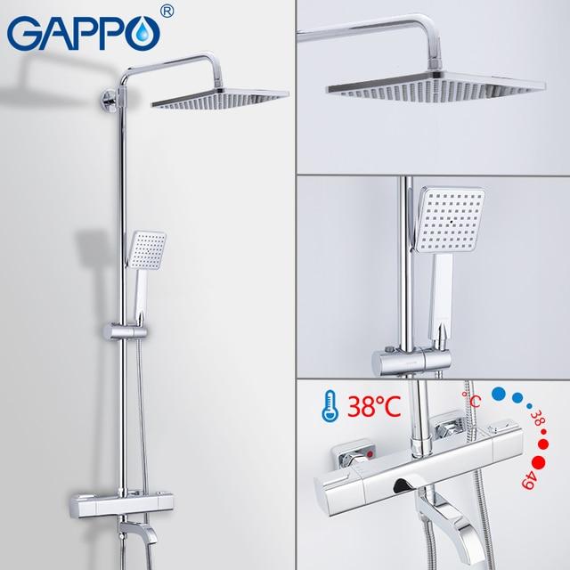 GAPPO 온도 조절 샤워 꼭지 크롬 컬러 욕실 욕조 샤워 믹서 세트 폭포 비 샤워 헤드 욕조 수도꼭지 도청