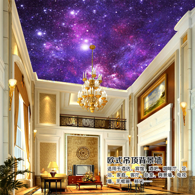 Custom photo wallpaper 3D star ceiling wallpaper bedroom KTV Hotel Cafe theme large wall painting wallpaper mural large mural wallpaper wallpaper ktv theme hotel restaurant 3d d poster three shark underwater world