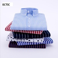 ECTIC 2018 Autumn New Striped Men Dress Shirt Formal Fashion Long Sleeve Brand Business Men Casual