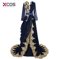 XCOS 2016 Real Picture Navy Blue Abaya Dubai Moroccan Kaftan Prom Dress Embroidery Long Sleeve Hijab