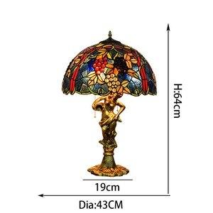 Image 5 - American style winogrona Tiffany kolor szklana lampa stołowa do salonu bar jadalnia sypialnia lampa stolik nocny