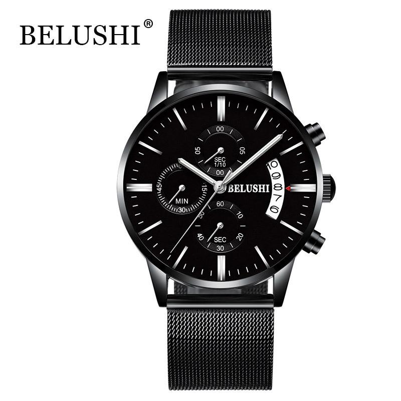 Herren Business Watch Top Marke Luxus Voller Stahl Wasserdicht Quarz Sport Armbanduhr Männer Uhr Männlich relogio masculino saat