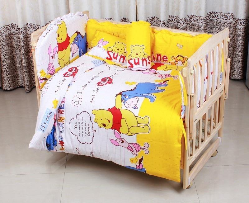 Promotion! 6PCS bedding sets crib bedclothes baby bedding baby crib sheets 100% cotton ,unpick(3bumpers+matress+pillow+duvet)