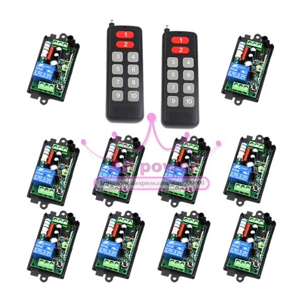 Commutateurs de télécommande 315 mhz lampe de lumière alimentation LED contrôleur sans fil AC220V 1CH 10A relais récepteur émetteur verrouillage déverrouillage